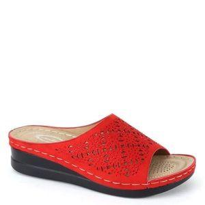 Italina Red Detail Rhinestone Wedge Mule Sandal
